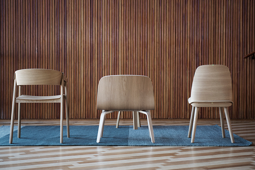Oak chairs by Muuto